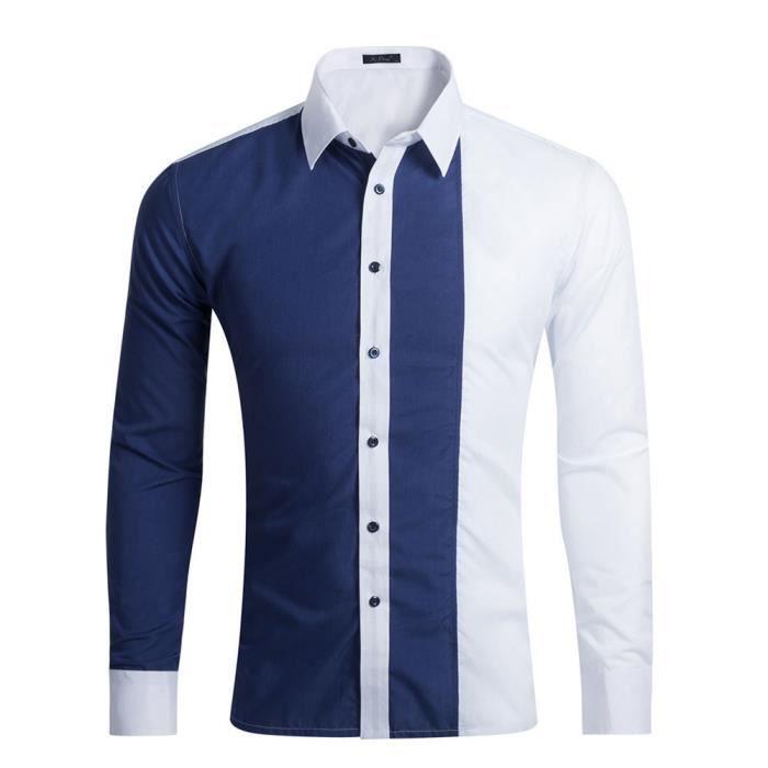 Chemise Deux Couleurs Homme Chemise Coton De Ville De Casual Manches  Courtes Coupe Droite,Bleu marine,M 1e5410b9a3f