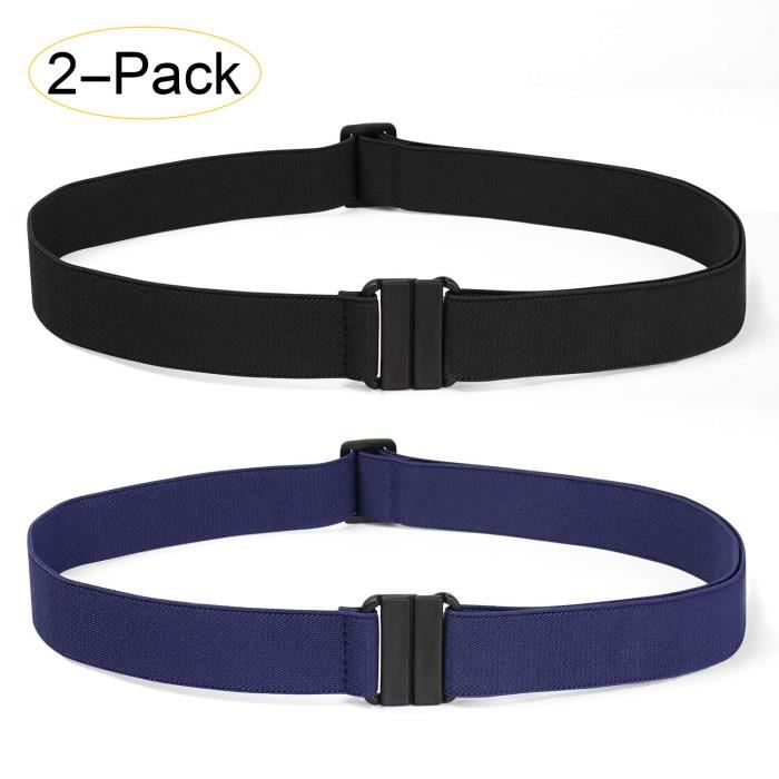 119a2bbc13d84 Femmes Pack 2 Invisible extensible ceinture élastique No Show Web Sangle  ceinture avec boucle plat Pour Jeans Pan VS3YZ Taille-M