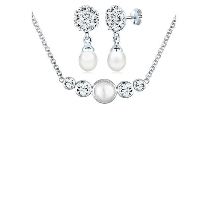 Perlu bijoux en argent sterling avec cristaux swarovski blanc 1H3TEU
