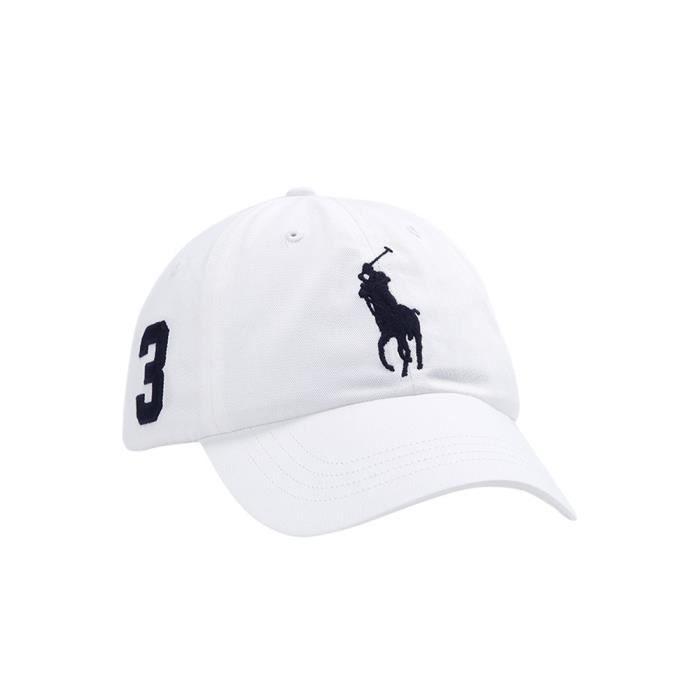 RALPH LAUREN Casquette blanche gros logo - Achat   Vente casquette ... 61d027de2442
