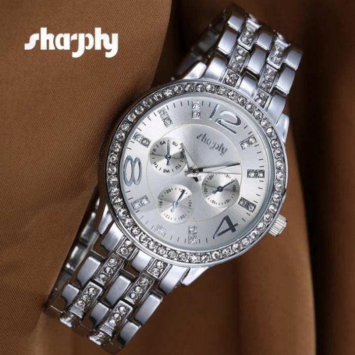 6f5214199e1f SHARPHY Montre Femme bracelet à quartz - Acier argenté - Achat ...