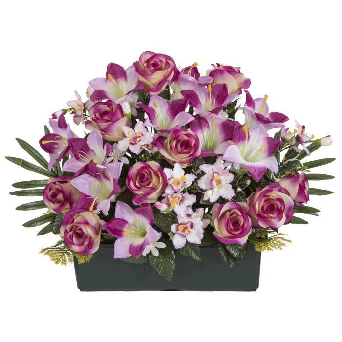 UNE FLEUR EN SOIE Jardinière TGM roses et lys , 50 cm