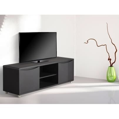 meuble tv sorriso noir 2 portes 2 niches