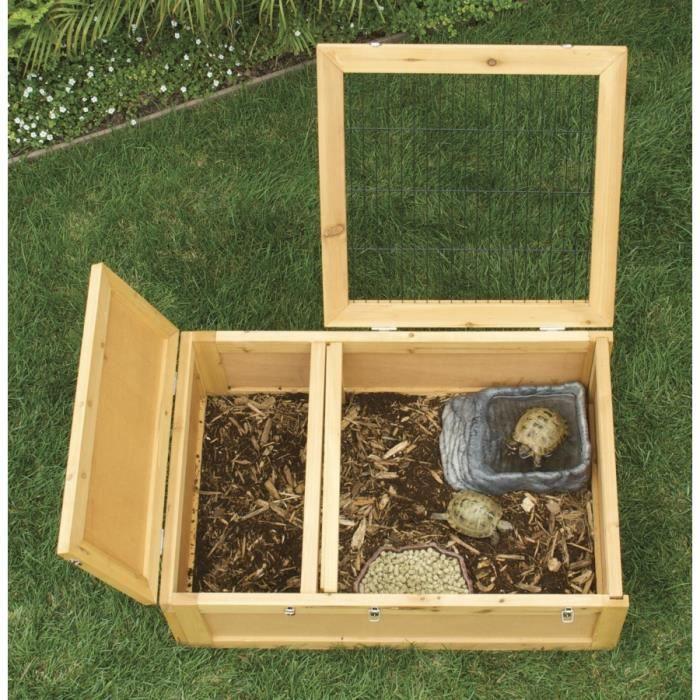 Terrarium Bois zoomed cage en bois avec abri - 91 x 61 x 30 cm - pour tortue