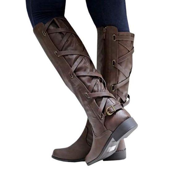 Boots Chaussures Lacets Le Longues Femme Dos Automne Bloc Cuir Rétro xByq6t