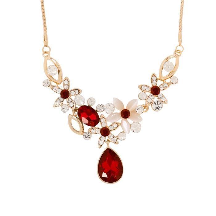 Femmes S Couleur Rouge véritable cristal autrichienne 18k or Partwear Westernwear Collier cadeau Fo ZRW73