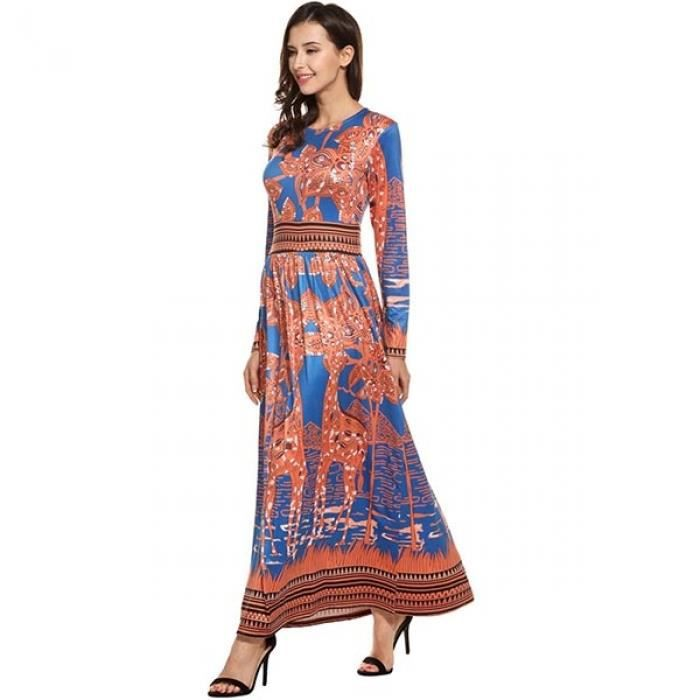 Femmes robe Maxi Casual manches longues Print O cou Style Vintage