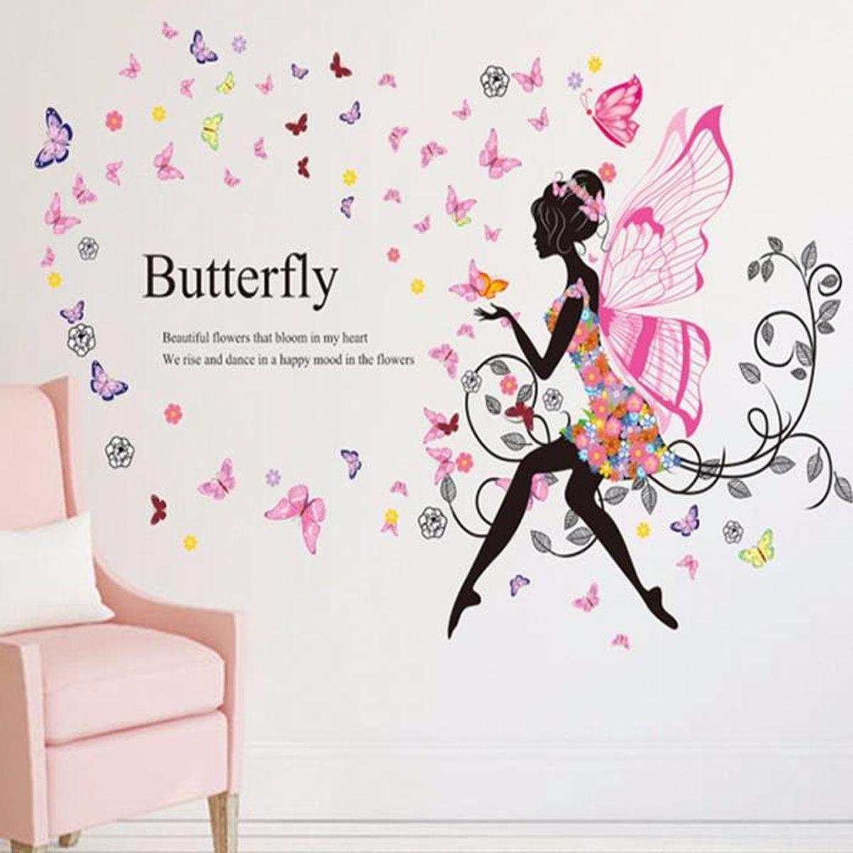 Autocollant mural fleur f e stickers art d coration for Autocollant mural