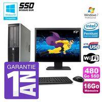 UNITÉ CENTRALE + ÉCRAN PC HP 8200 SFF Intel G630 16Go Disque 480Go SSD Gr