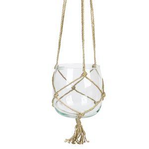 VASE - SOLIFLORE Boule en verre à suspendre - Avec corde en chanvre