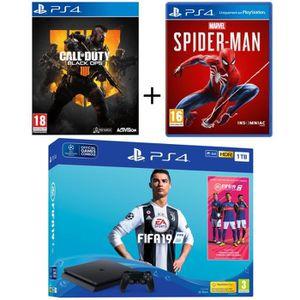 CONSOLE PS4 NOUVEAUTÉ Pack PS4 1 To Noire + 3 Jeux : FIFA 19 + Marvel's