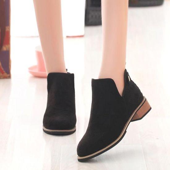 Femmes Moto Cheville Bottes Bas Talons Plate-Forme Automne Chaussures Martin Bottes Noir Noir Noir - Achat / Vente slip-on