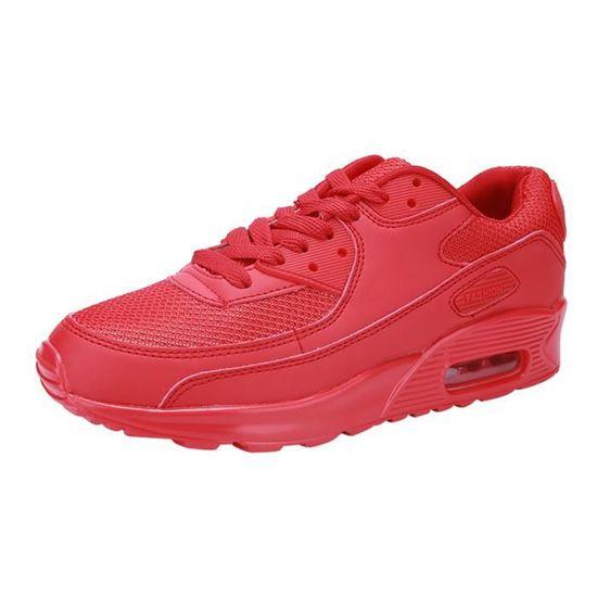 Couple Chaussures de coussin d'air de sport Chaussures de course voyage étudiant Souliers simple rouge Rouge Rouge - Achat / Vente chaussures multisport