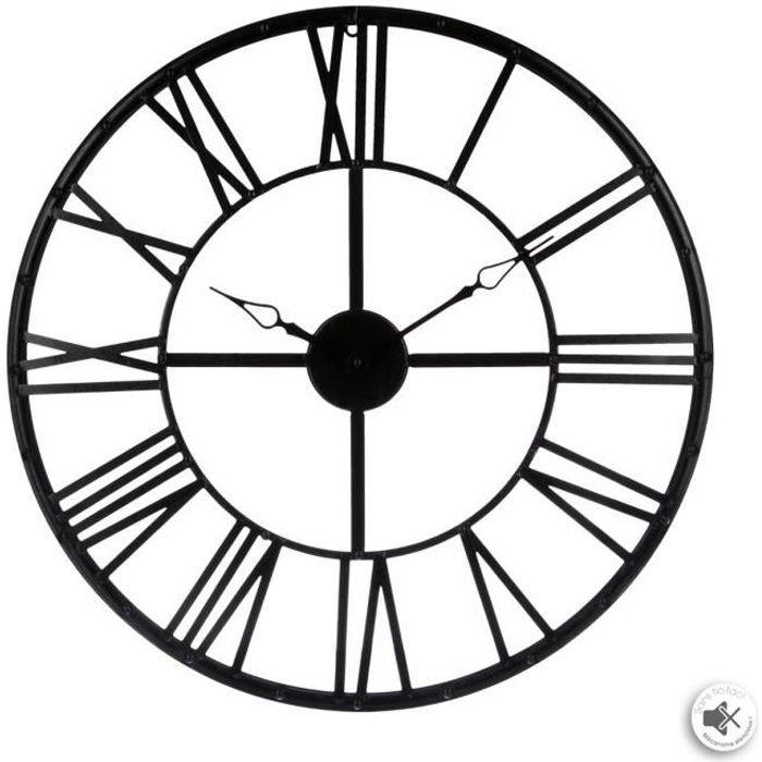 horloge murale vintage noire xl 70 cm station m t o. Black Bedroom Furniture Sets. Home Design Ideas