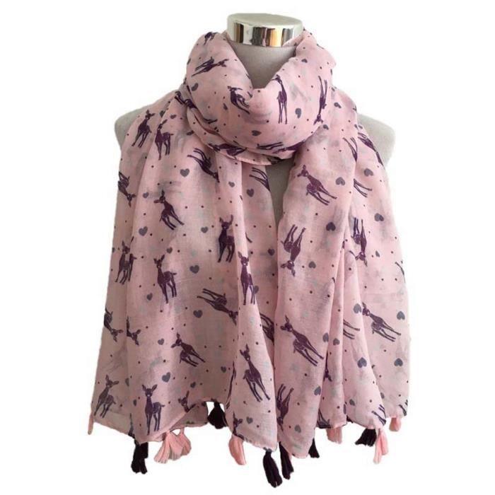0aaddb3c4df Benjanies®Femmes écharpe mode petit cerf imprimé gland femmes châle  pashmina étole écharpe foulards populaire Loisirs ZJC10120916