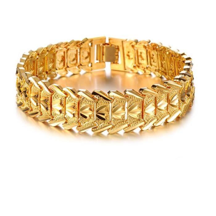 Bijoux fantaisie en gros plaqué or 18 carats Bracelet en or pour hommes  FJJ50912503 63f67b00a911