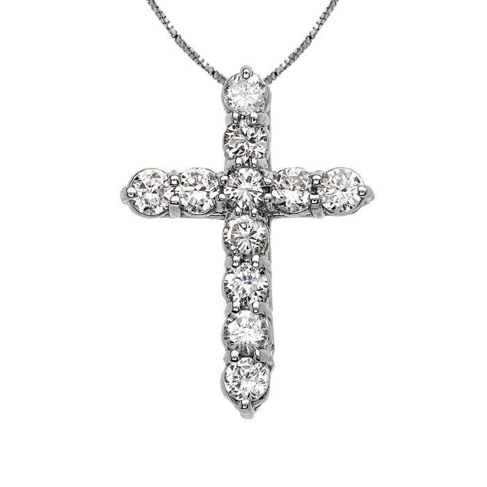 Collier Femme Pendentif Élégant 14 Ct Or Blanc 2.25 Carat Rond Oxyde De Zirconium (Petit) Croix (Livré avec une 45cm Chaîne)