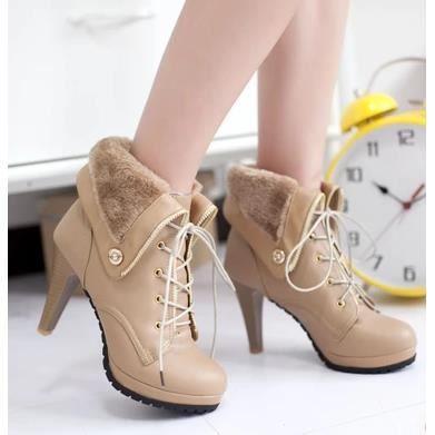 Bottes d'hiver à talons hauts Femme British Lun Mading bottes bottes de neige occasionnelles, Brown 39