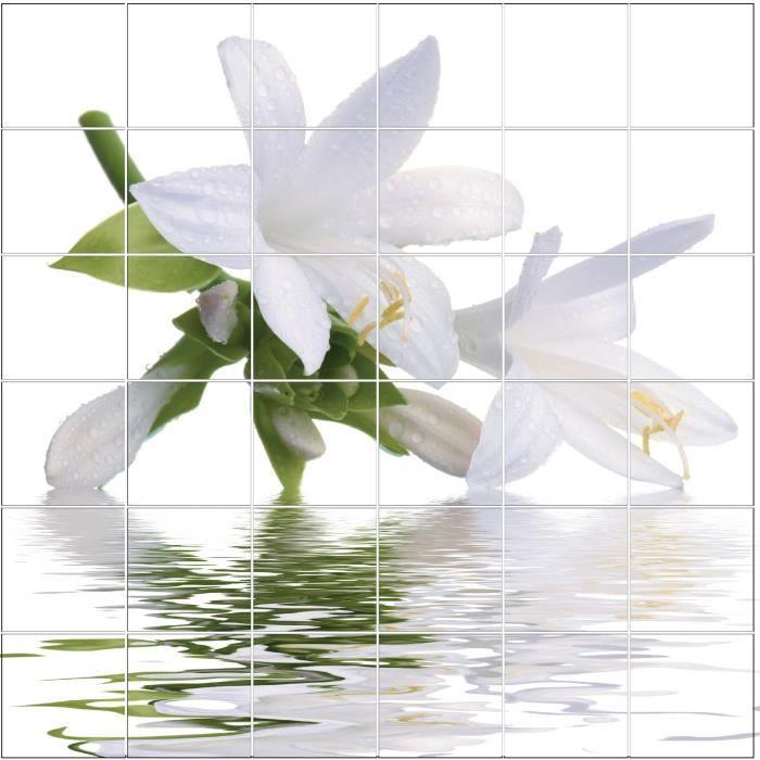 Sticker déco autocollant vinyle adhésif salle de bain fleur