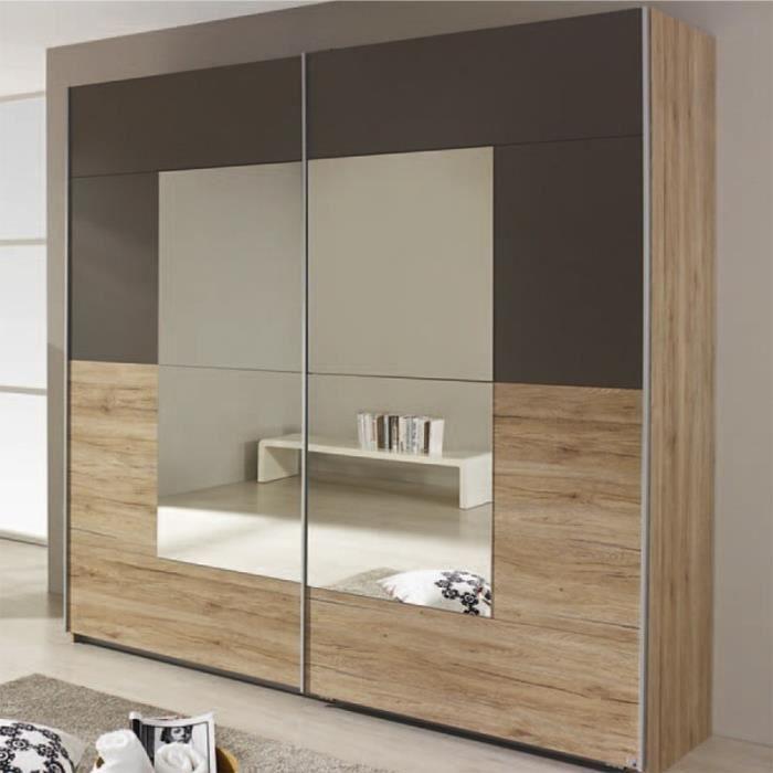 CRATO - Armoire de rangement, 2 portes coulissantes 2 miroirs, décor papier  imitation chêne Sonoma/gris lave, 175x210x59cm