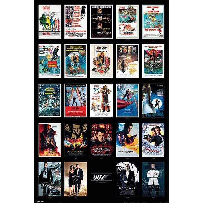 poster james bond 007 collage des affiches de cin ma achat vente affiche cdiscount. Black Bedroom Furniture Sets. Home Design Ideas