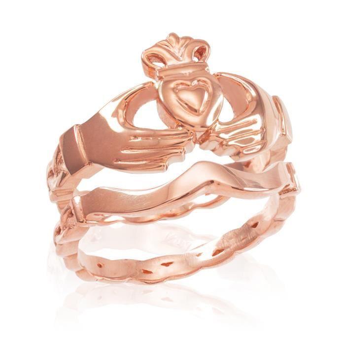 Bague Femme 10 ct 471/1000Or rose Claddagh Avec Celtique Band