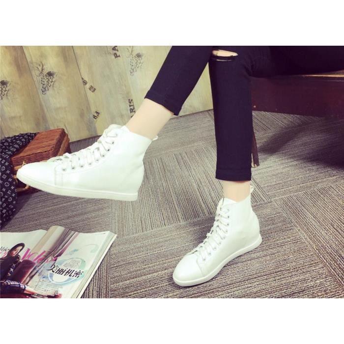 Pure Color Women Casual doux hautes chaussures ...