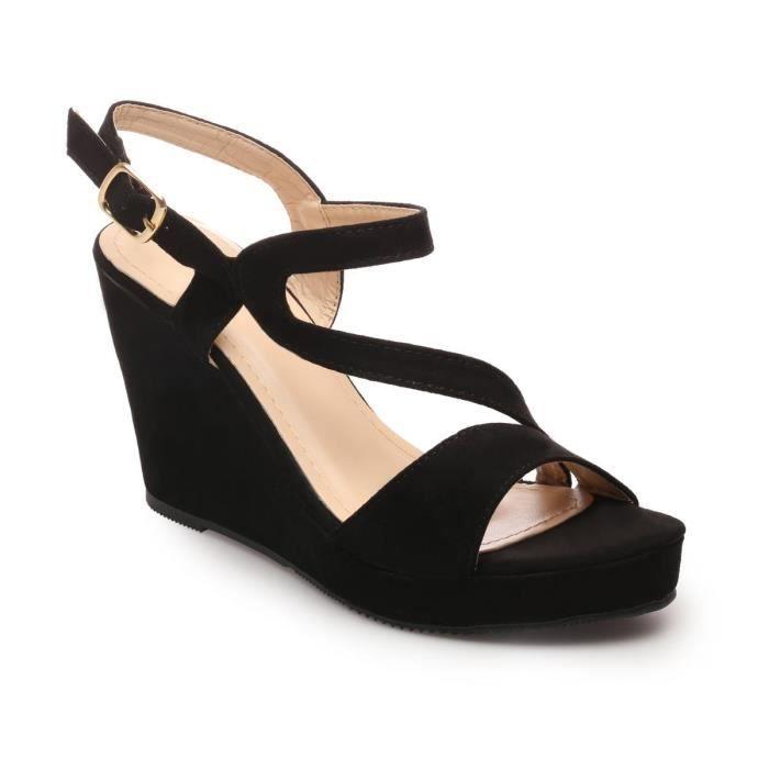 Sandales compensées noires suédine