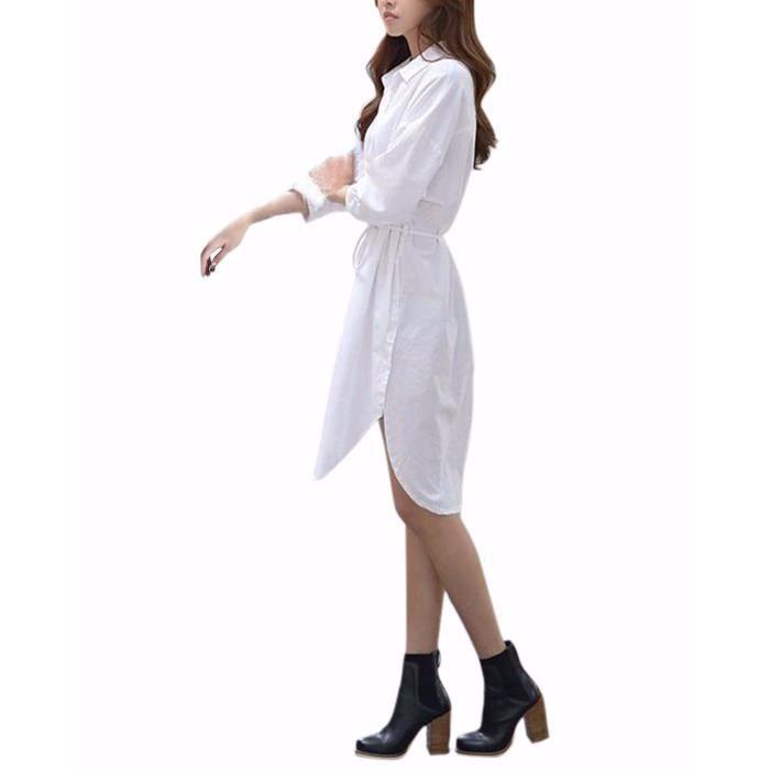 Robe Sexy Femme Manche Longue Mousseline de Soie