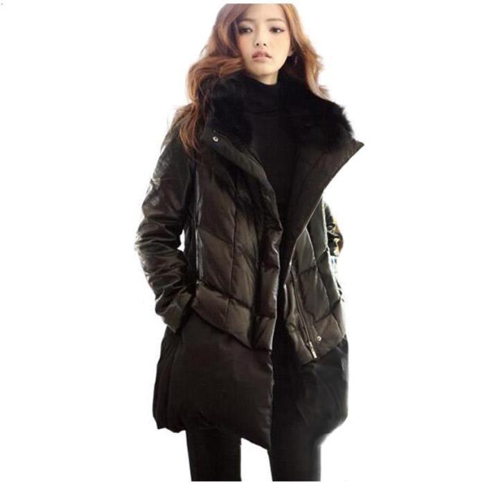 grande taille doudoune femme mode pu patchwork col de fourrure manteau noir moyen long paissir. Black Bedroom Furniture Sets. Home Design Ideas