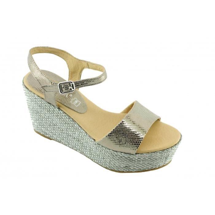 Janinari – sandales compensées bride Y chaussures pour Femme fabriqué en Espagne cuir bronze