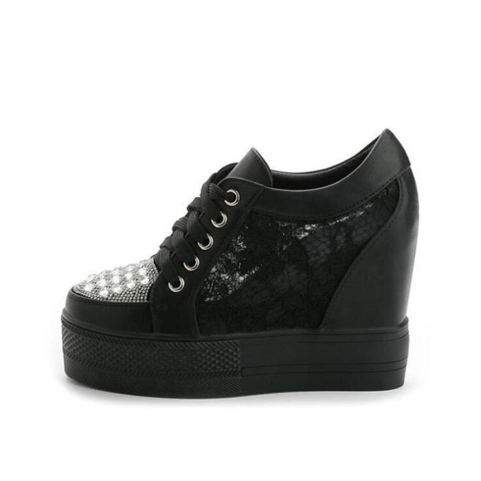 Chaussures femmes dentelle Respirant Luxe couleur unie noir Meilleure Qualité Talons hauts élégant Plus Taille lydx237