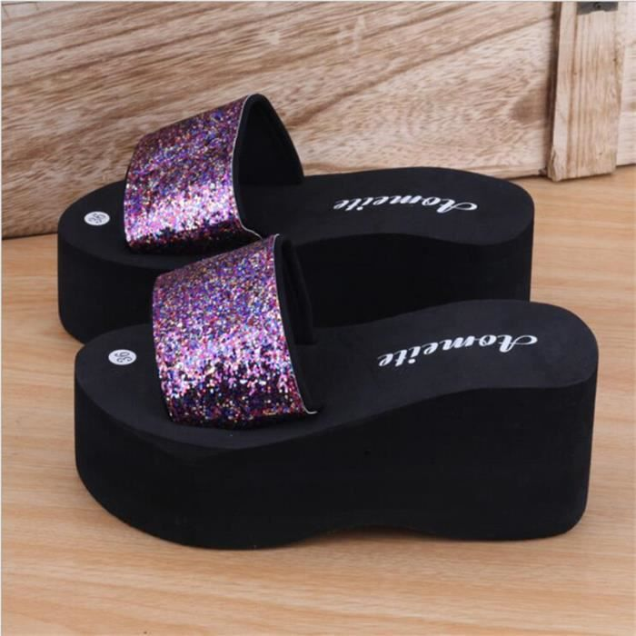 Sandale Femmes de Marque De Luxe Haut qualité Talons hauts Poids Léger Plus De Couleur blanc violet Sandale Femmes Grande Taille