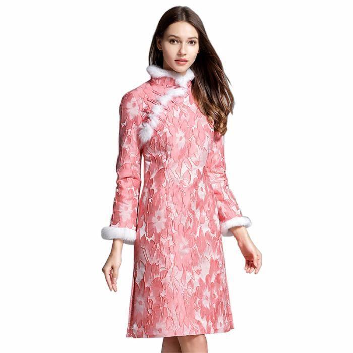 6619674540c Robe Femme Automne et hiver mi-longue Col officier Style chinois mode slim  fit Rose SIMPLE FLAVOR