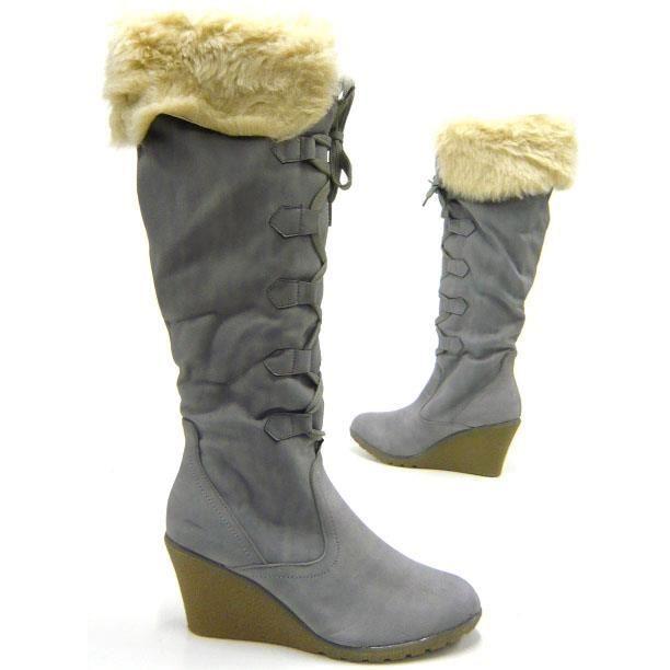 PELUCHEUX femmes chaussures bottes doublé fausse fourrure Boots grey 39