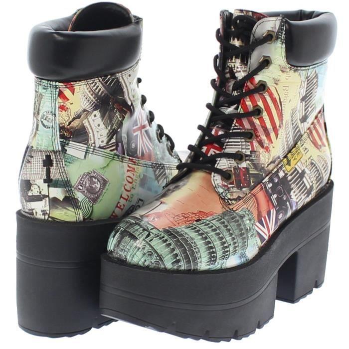 République Chaussure Chunky Plate-forme lacent cheville Bottes de travail Adam S8733 Taille-38 92PeKplcx