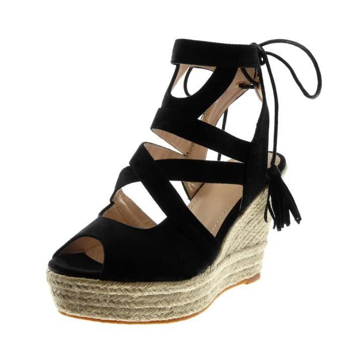 Angkorly - Chaussure Mode Sandale Espadrille Peep-Toe plateforme femme corde lacets multi-bride Talon compensé plateforme 11 CM -