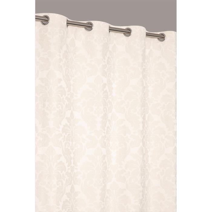 rideau jacquard coton motif fleur baroque ecru achat vente rideau coton polyester cotton. Black Bedroom Furniture Sets. Home Design Ideas