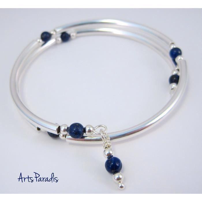 Femmes Dark Blue Lapis Lazuli pierre naturelle et en argent sterling plaqué Wrap Bracelet En TQJ80