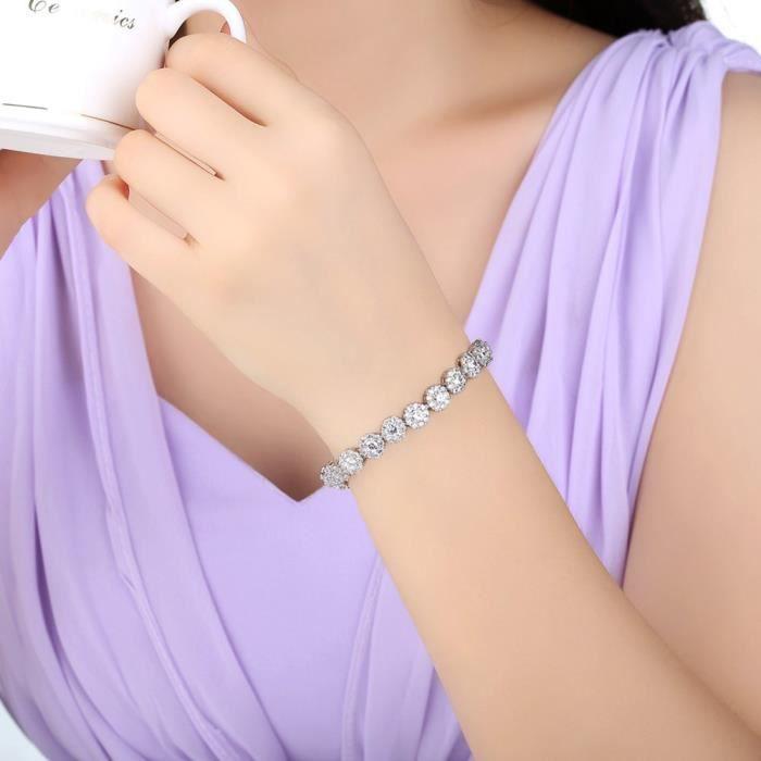 Bracelet plaqué or blanc pour femme avec brillant zircon cubique clair incrusté dor blanc