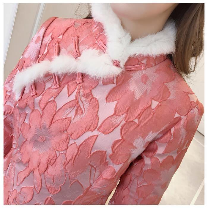 Robe Femme Automne et hiver mi-longue Col officier Style chinois mode slim fit Rose SIMPLE FLAVOR