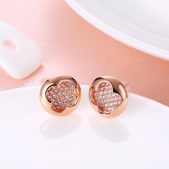 PARURE Bijoux femme en Swarovski Elements Cristal 24K Plaqué or rose Trèfle Pendentif Collier + Boucles doreilles