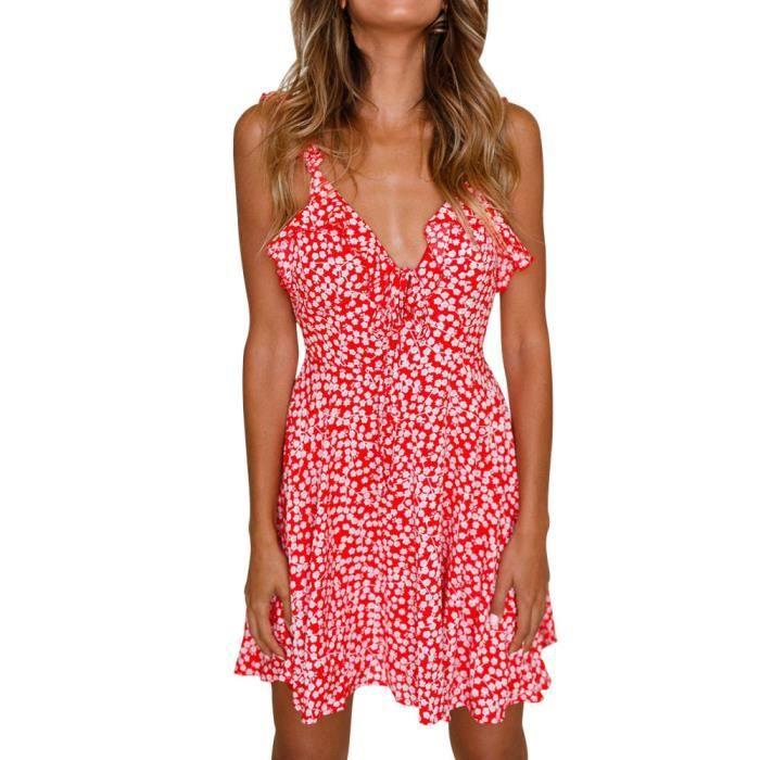 Napoulen®Mode été V col en sans dos impression robe de soirée sans manches Rouge YHL80302182