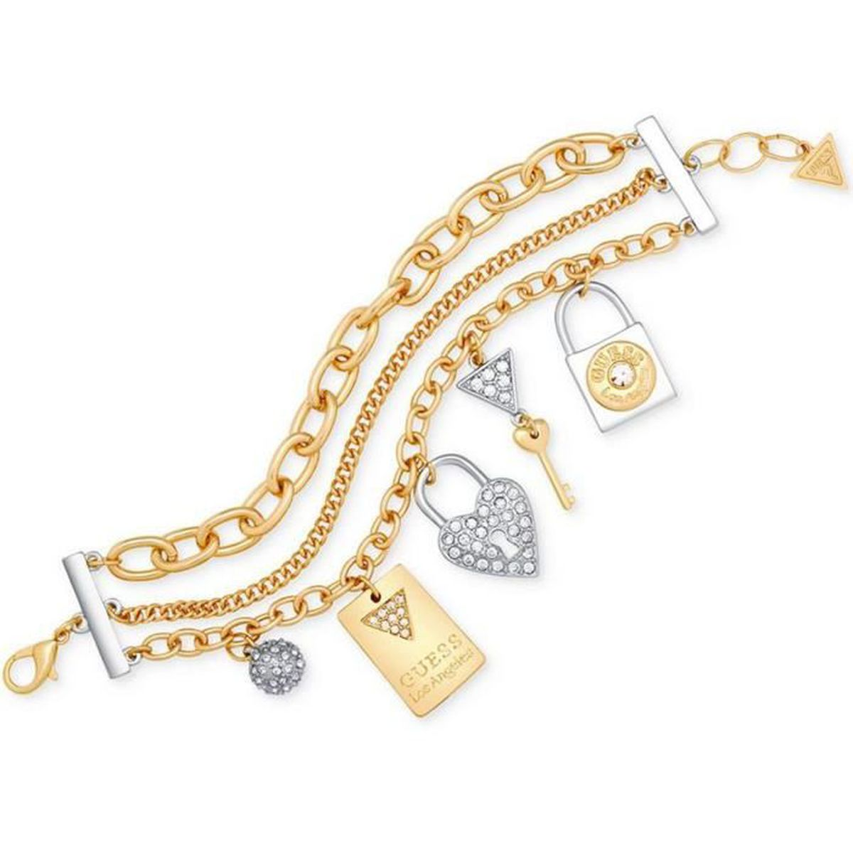Bracelet Guess Femme Coffret Pendentifs Logo Argenté Et Doré BJB0448 ... 0937c3889d9