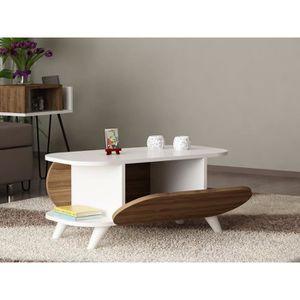 96f1bdf2983b77 IGOR Table basse vintage décor chêne et imprimé - L 100 x l 50 cm ...