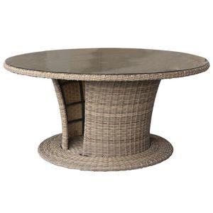 Table en resine tressee et plateau en verre trempe - Achat ...