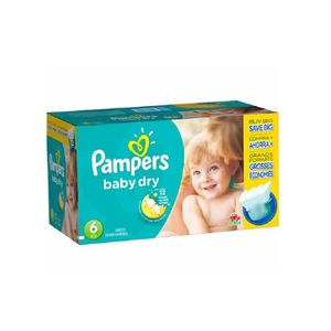 COUCHE Pack 124 Couches Pampers Baby Dry taille 6