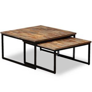 Ensemble De Table Basse Table De Salon Gigogne 2 Pcs Teck Massif De