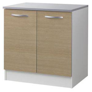 elements bas meuble bas naturel avec 2 portes 80 cm h 86 x l 8