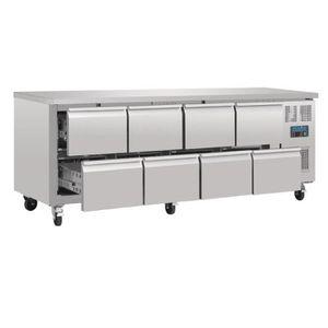 ARMOIRE RÉFRIGÉRÉE Table réfrigérée positive - 8 tiroirs 616 L